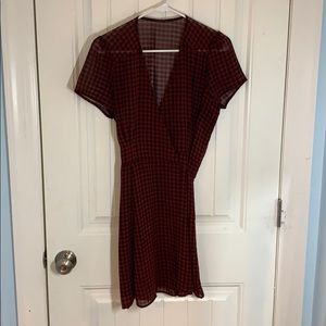 Olivaceous • Gingham Mini Wrap Dress